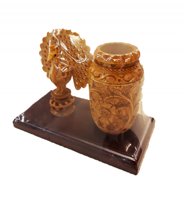 PEN STAND WITH DECORATIVE ITEM CARVED KADAM WOOD 7 X 5 INCH