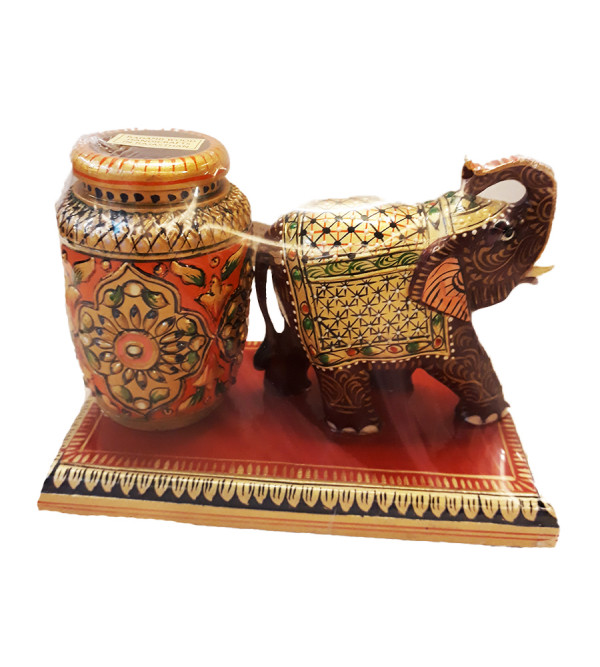PAINTED PEN STAND WITH DECORATIVE ITEM CARVED KADAM WOOD 7 X 5 INCH