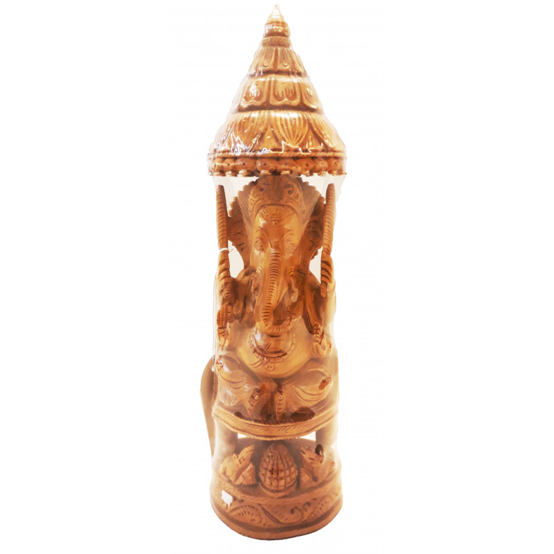 Sandalwood Handcrafted Carved Lord Ganesha Figure with  Chhatra