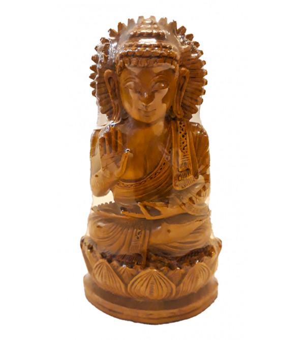 BUDDHA SITTING CARVING SANDAL WOOD 6 INCH