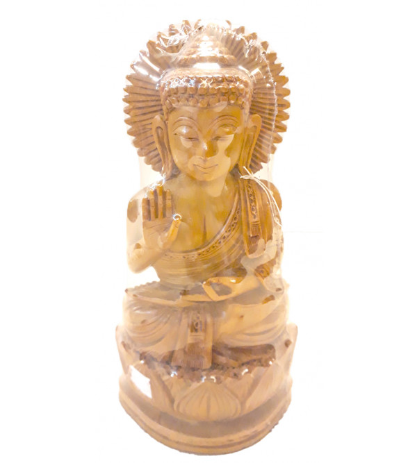 BUDDHA SITTING CARVING SANDAL WOOD 7 INCH