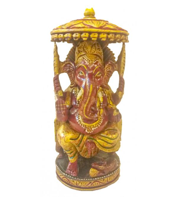 Kadamba Wood Handcrafted Carved Lord Ganesha Figure with Chhatra