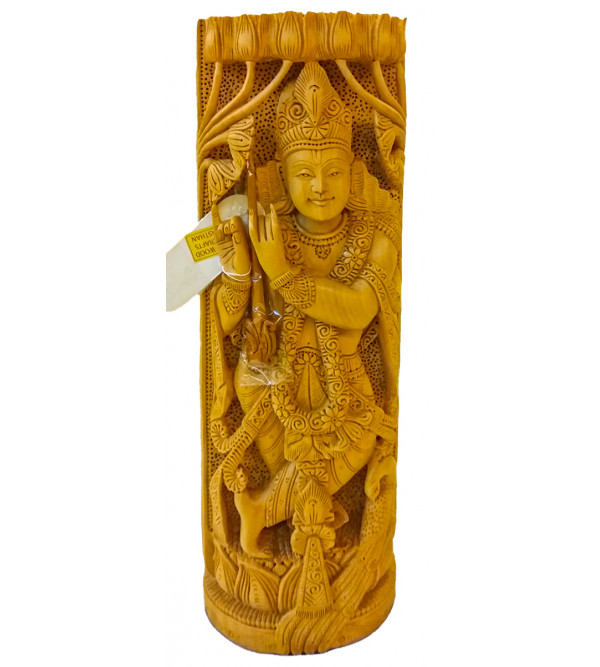 GOD FIGURE CARVED KADAM WOOD RADHA KRISHNA 12inch
