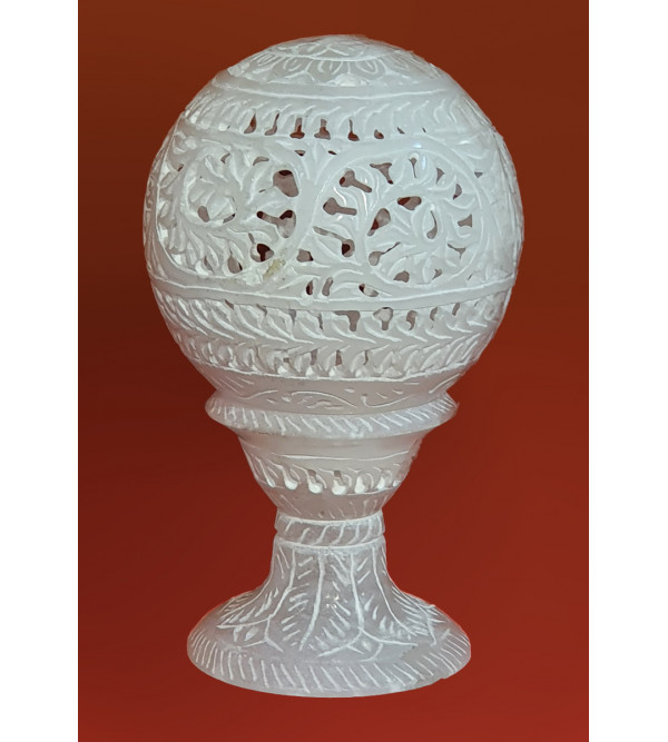 Alabaster stone Jali work ball 6 inch with stand