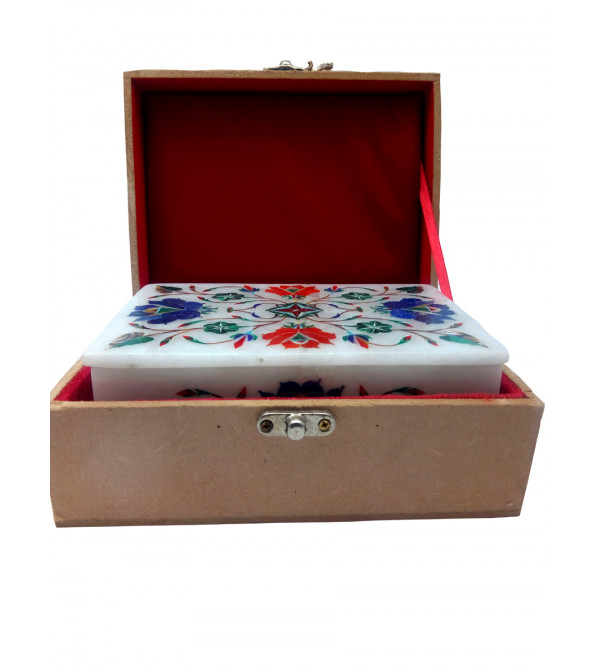Marble Box with semi precious stone inlay Size 6x4 inch