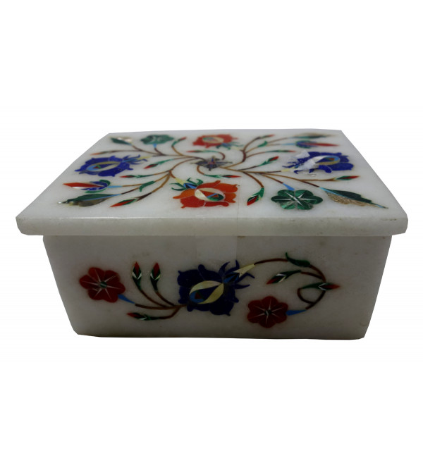 Marble Inlay Box With Semi Precious Stone Size 4x3 Inch
