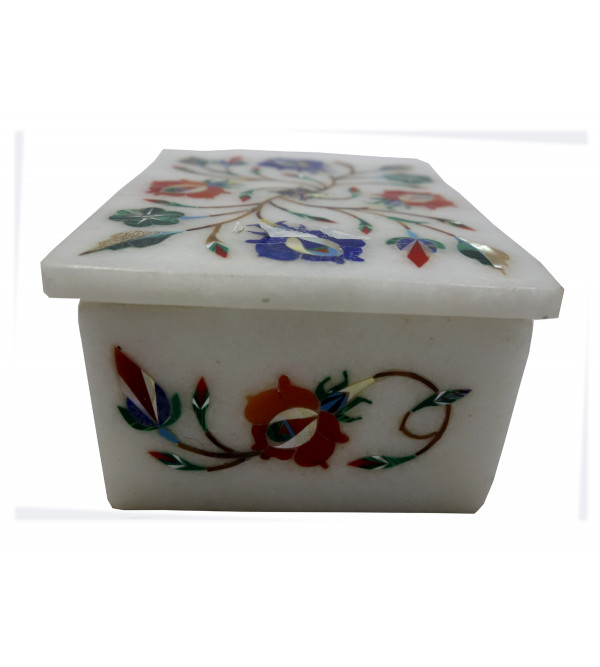 Marble Inlay Box With Semi Precious Stone Size 4x3 Inch
