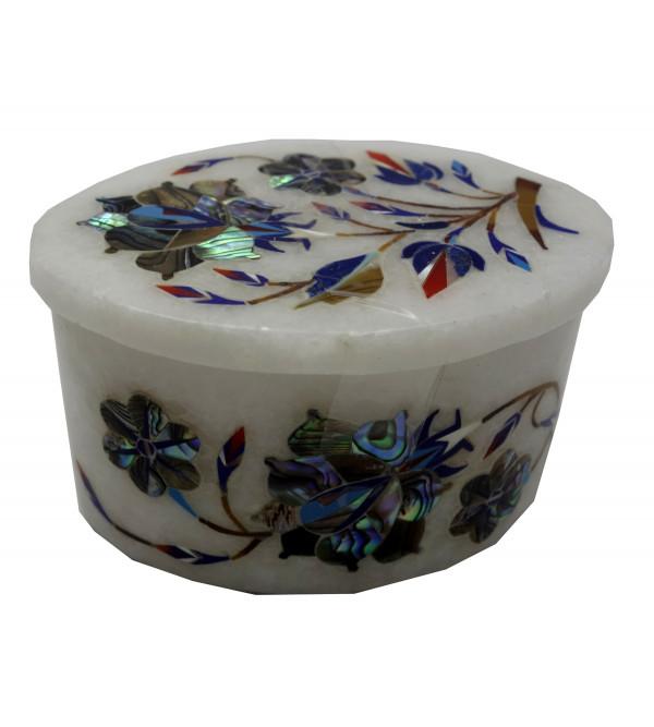 Marble Box With Semi Precious Stone Inlay Work Size 3x2 Inch