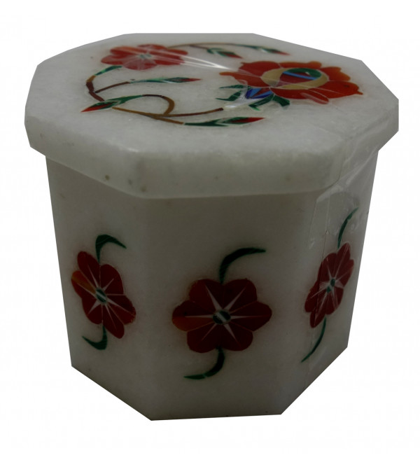 Marble Box with semi precious stone inlay Size 2x2 inch
