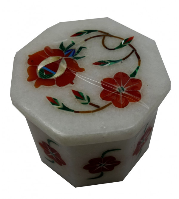 Marble Box With Semi Precious Stone Inlay Work Size 2x2 Inch