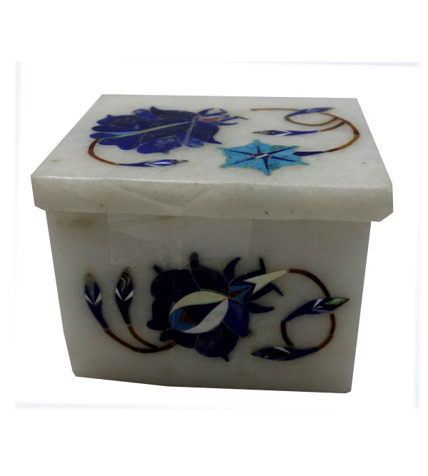 Marble Box with semi precious stone inlay Size 2x1.5 inch