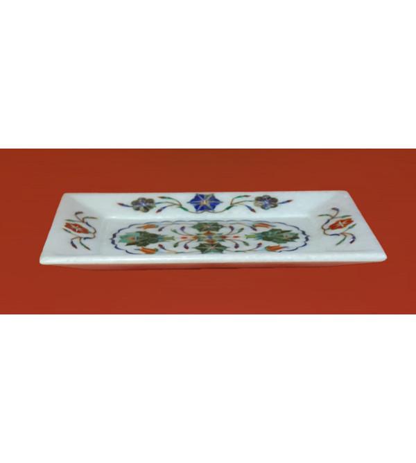 Marble Tray With Semi Precious Stone Inlay Work Size 7x5 Inch