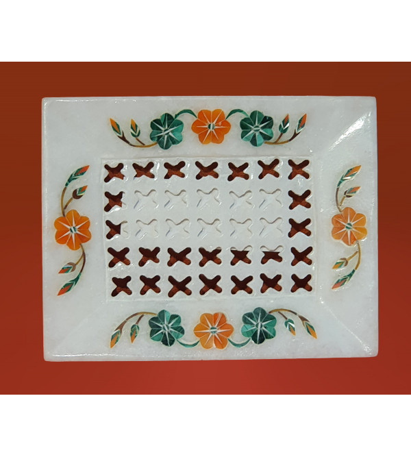 Handicraft Marble Soap Dish with Inlay Work 4x3 Inch