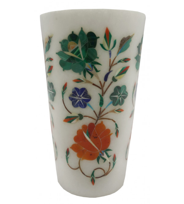 Marble Glass with Semi Precious Stone Inlay Size 5 inch