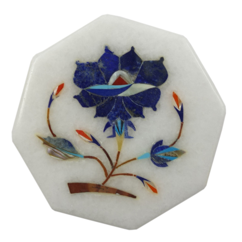 Handicraft Marble Tile with Inlay Work 3Inch