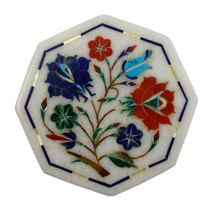 Handicraft Marble Tile with Inlay Work 4Inch