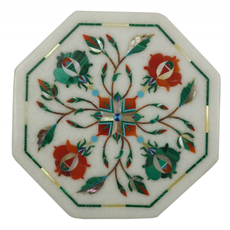 Handicraft Marble Tile with Inlay Work 5 Inch