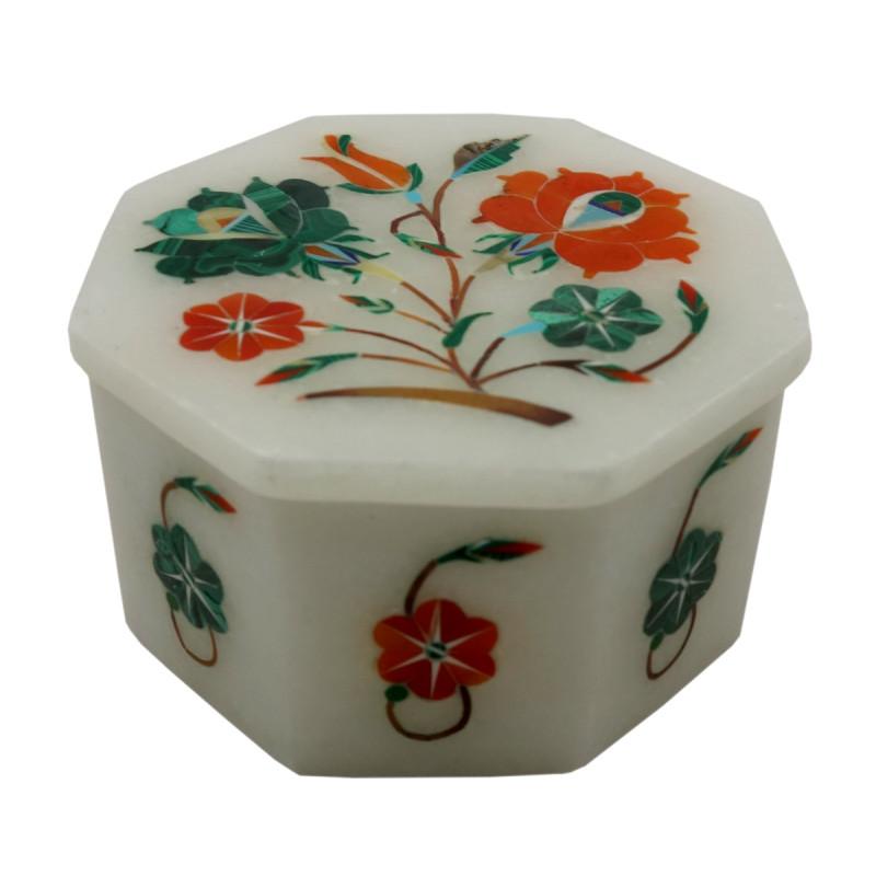 Handicraft Marble Box with Inlay Work  3X3  Inch