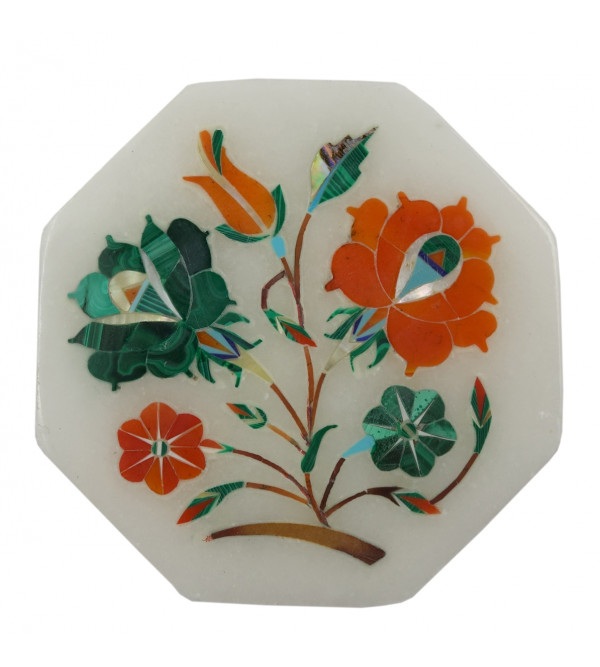 Handicraft Marble Box with Inlay Work  3X3  Inch