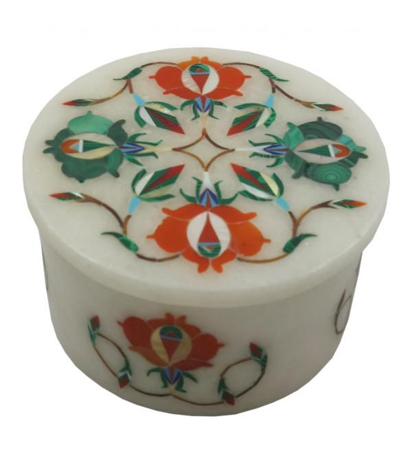 Marble Inlay Box With Semi Precious Stone Size 3 Inch