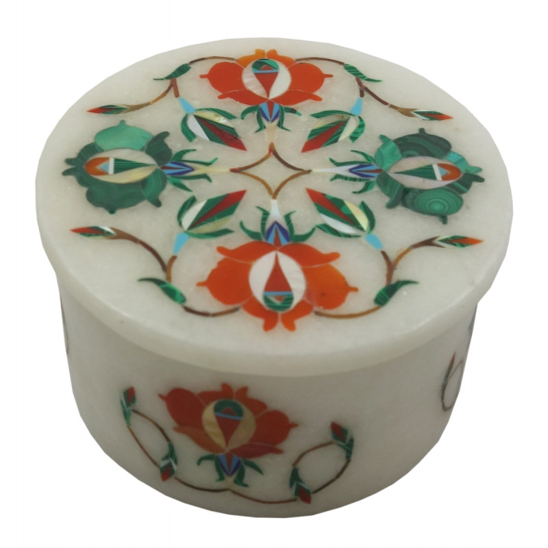 Handicraft Marble Box with Inlay Work 3 Inch
