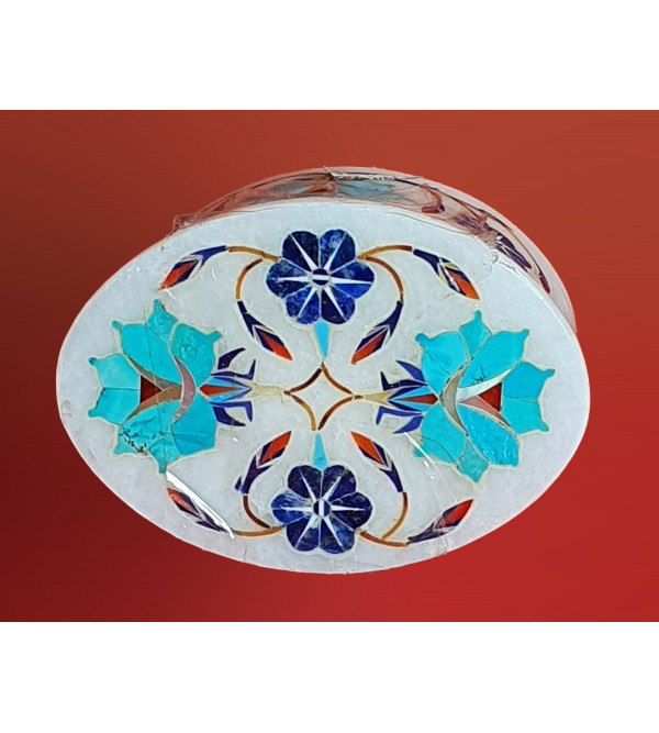 Handicraft Marble Box with Inlay Work (3X2 Inch)