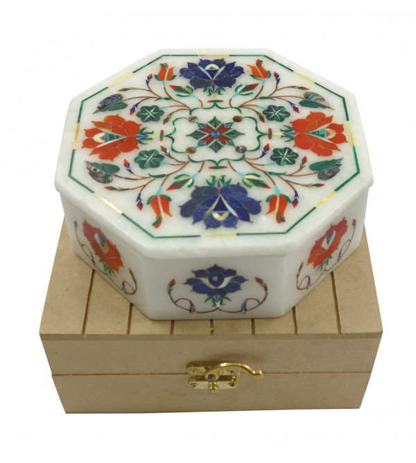 Handicraft Marble Box with Inlay Work 6x6 Inch