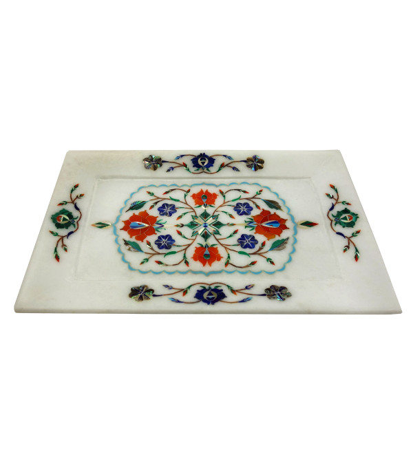 Handicrafat Marble Tray with Inlay Work 9x6 Inch
