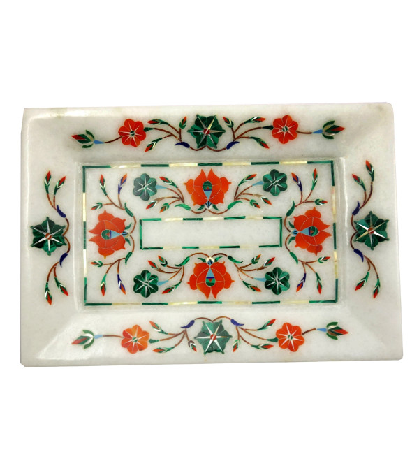 Handicrafat Marble Tray with Inlay Work 8x6 Inch