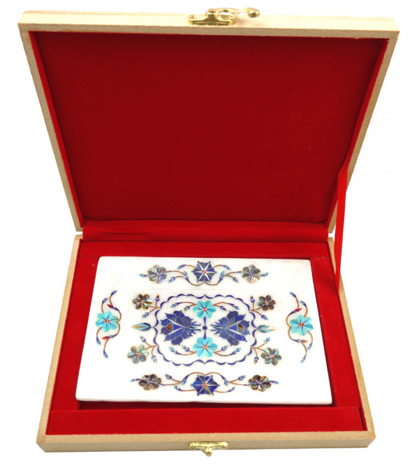 Handicrafat Marble Tray with Inlay Work 7x5 Inch