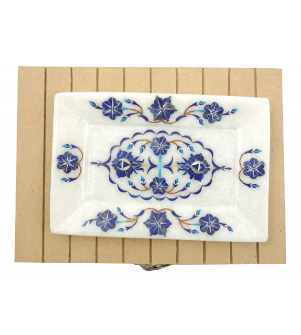 Handicrafat Marble Tray with Inlay Work 6x4 Inch