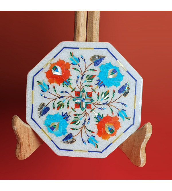 Marble Tile With Semi Precious Stone Inlay Work Size 6 Inch