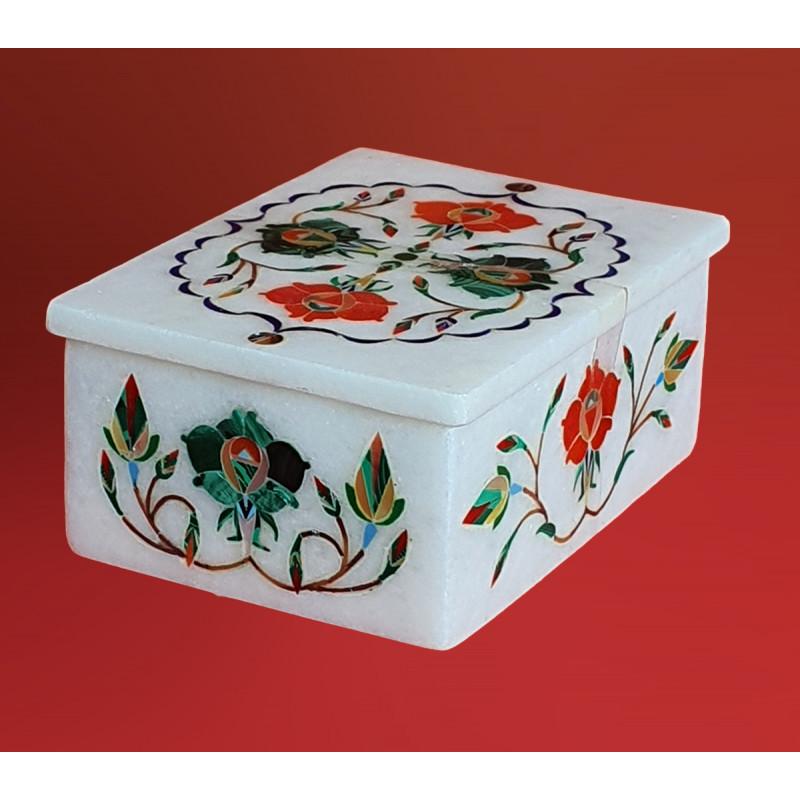 Marble Box With Semi Precious Stone Inlay Work Size 4x3 Inch