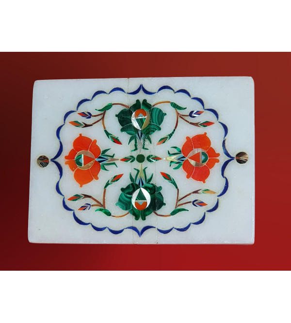 MARBLE BOX 4X3 INCH with semi precious stone inlay