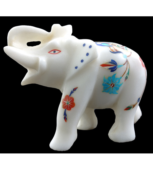 HANDICRAFT ASSORTED MARBLE ELEPHENT 4 INCH