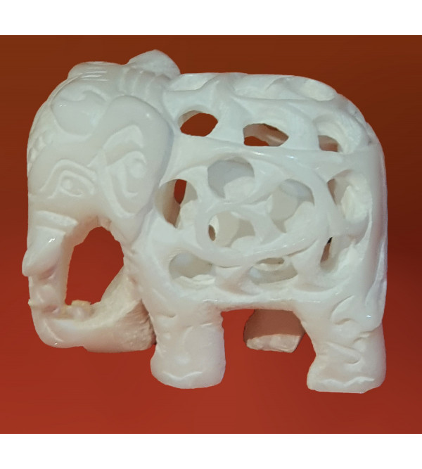 HANDICRAFT ASSORTED ALABASTER UNDERCUT ELEPHANT 2 INCH