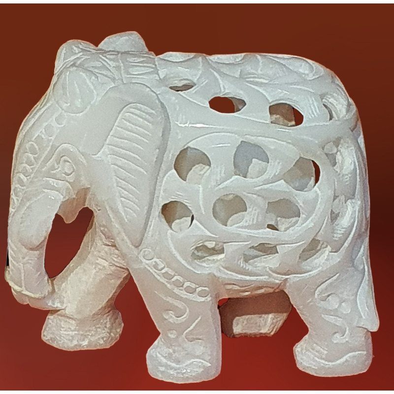 HANDICRAFT ASSORTED ALABASTER UNDERCUT ELEPHANT 3 INCH