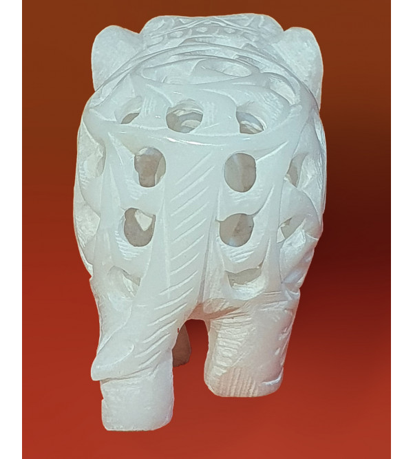 HANDICRAFT ASSORTED ALABASTER UNDERCUT ELEPHANT 3 INCH