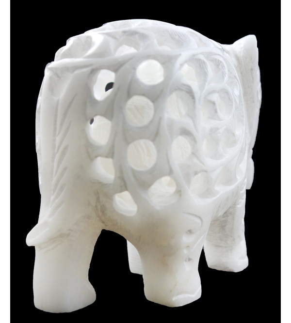 HANDICRAFT ASSORTED ALABASTER UNDERCUT ELEPHANT 4 INCH