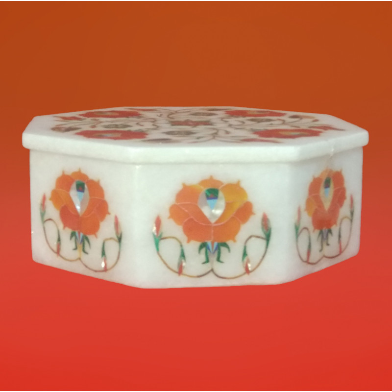 Marble Box With Semi Precious Stone Inlay Work Size 6x6 Inch