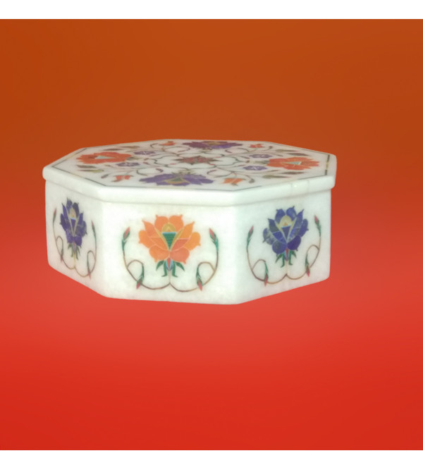 Marble Octal Shaped Box With Semi Precious Stone Inlay Work Size 6x6 Inch
