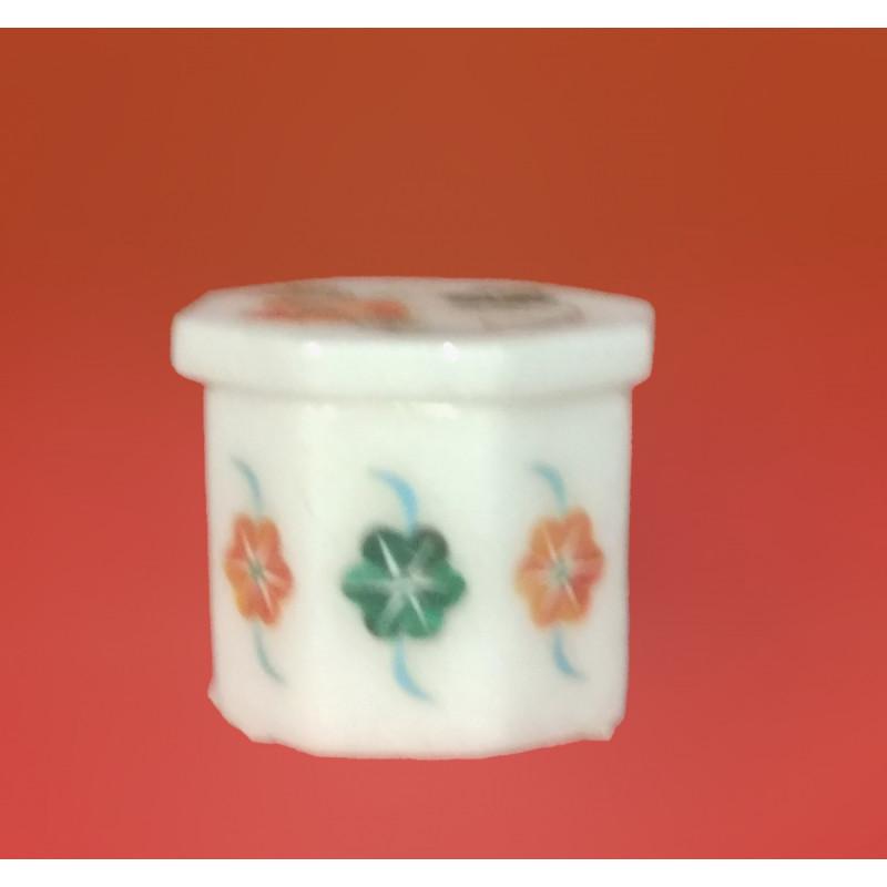 Marble Box With Semi Precious Stone Inlay Work Size 2 Inch