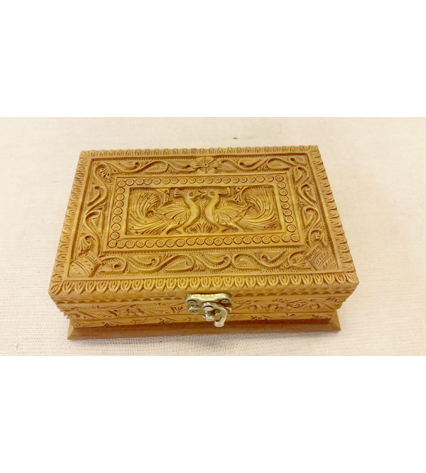 6X4 INCH SANDALWOOD BOX CARVED