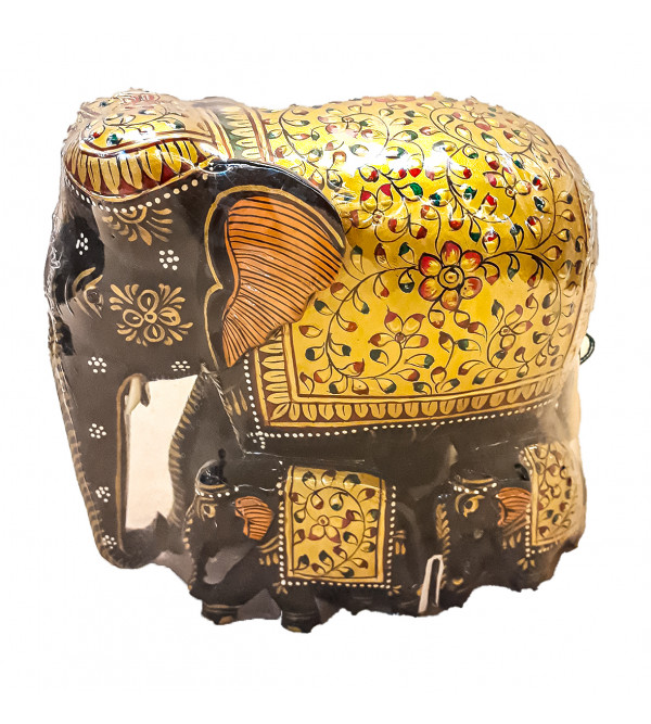 Kadamba wood Handcrafted and Hand painted Elephant with Patha Design