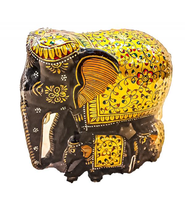 Kadamba wood Handcrafted and Hand painted Elephant with Patha Design