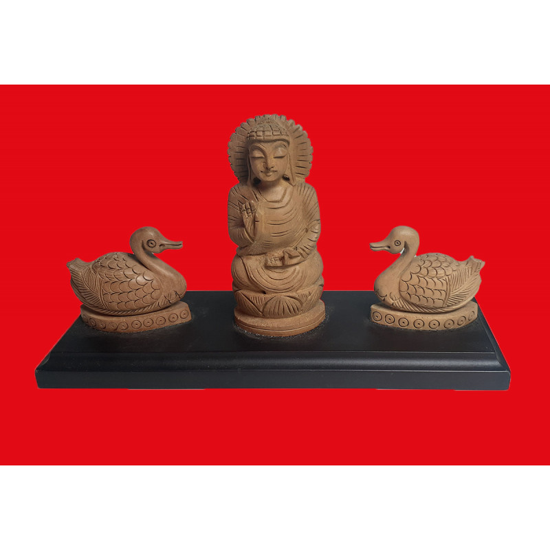 Wooden Gift Set of Lord Buddha surrounded by Swans