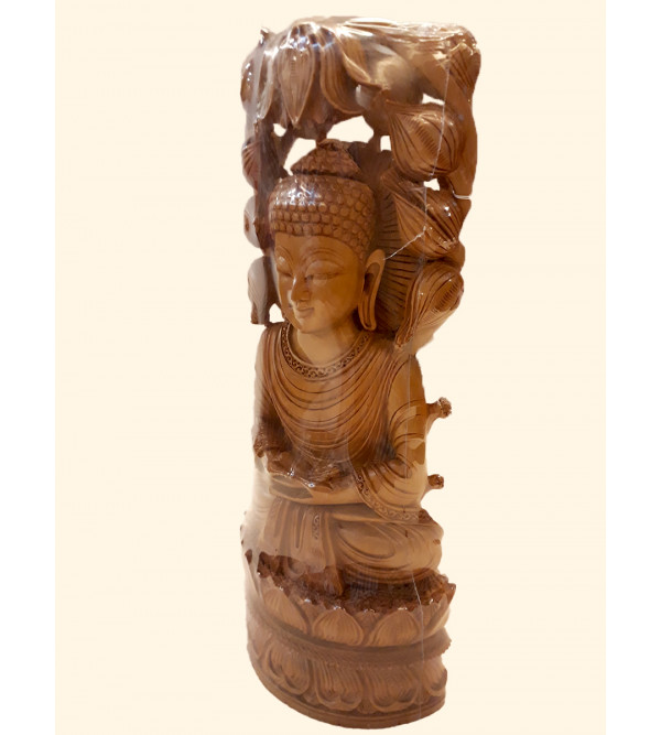 Sandalwood Handcrafted Carved Lord Buddha Sitting in Meditation Position