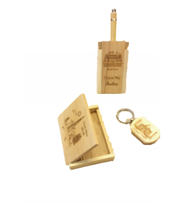 Wooden Gift Set Consisting Key Chain, Watch and Stand