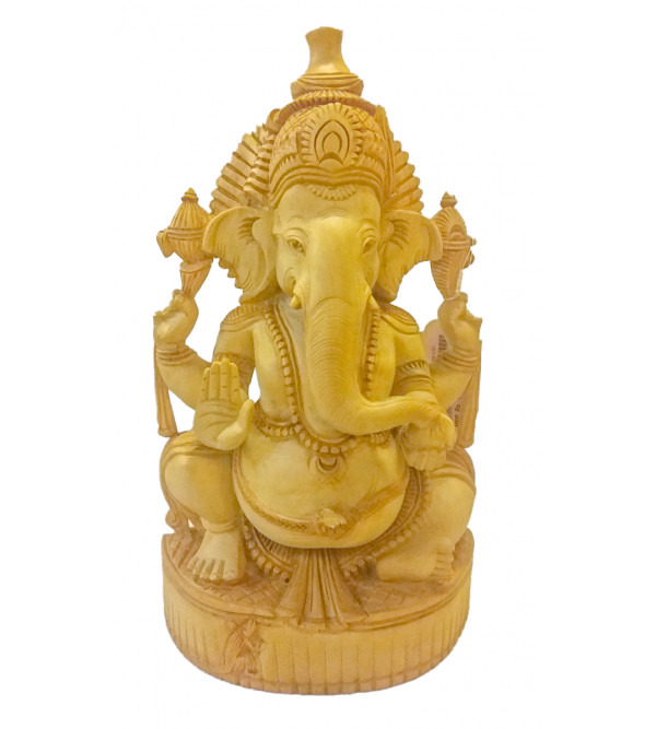 GOD FIGURE CARVED KADAM WOOD 12inch GANESHA