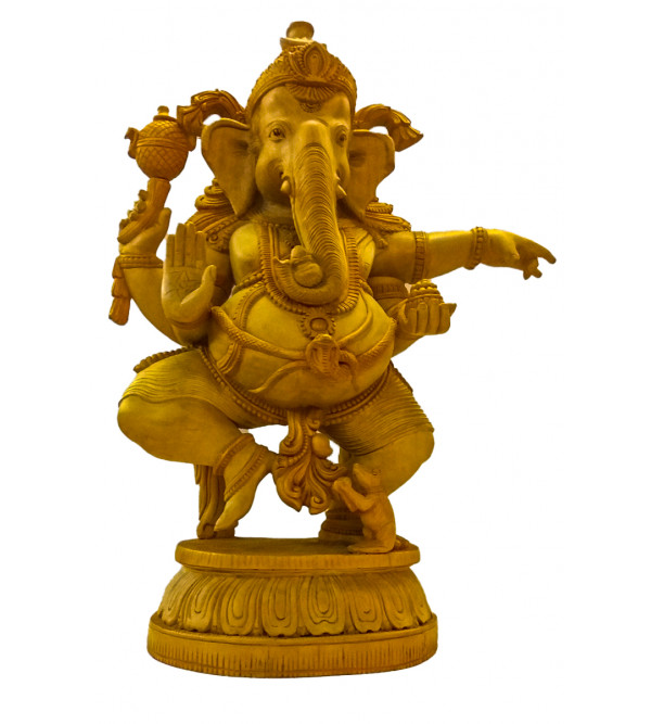 GOD FIGURE CARVED KADAM WOOD Ganesha 22 inch